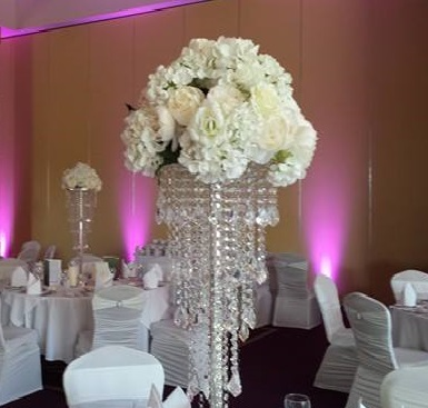 A Centerpiece, Crystal stand with floral top to hire x10